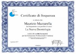 """Certificato di Frequenza """"La Nuova Deontologia"""""""