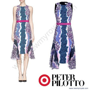 Sophie, Countess of Wessex style PETER PILOTTO Dress and SANDRO Blazer