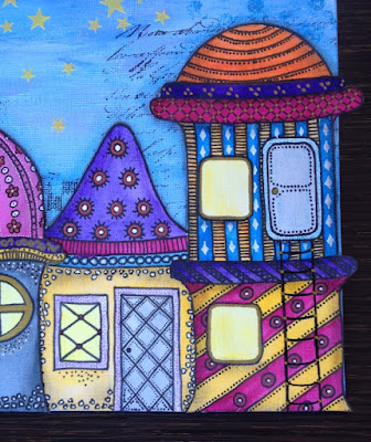 Mixed media, whimsical houses, fairy