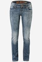Jeans Patrol skinny, albastri, cu talie medie