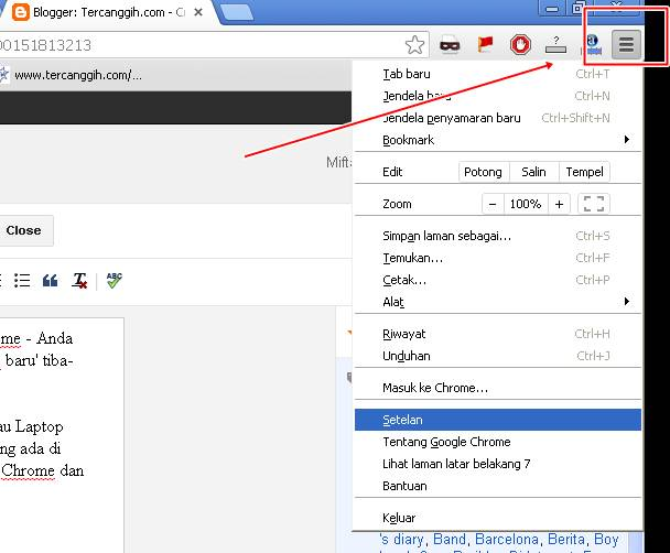 Option / Setelan Google Chrome