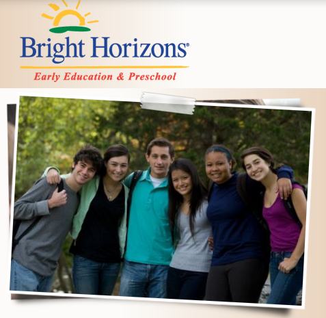 snapshot of ECE students in a group, from Bright Horizons web page