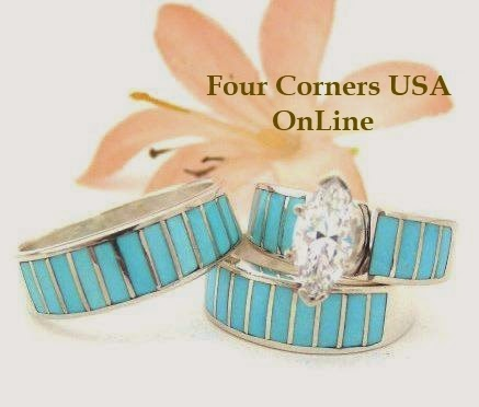 Turquoise Inlay Native American Wedding Rings Bands Bridal Engagement Sets