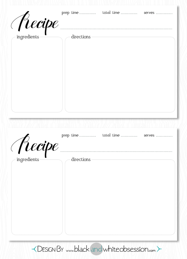 Free Printable Blank Recipe Cards