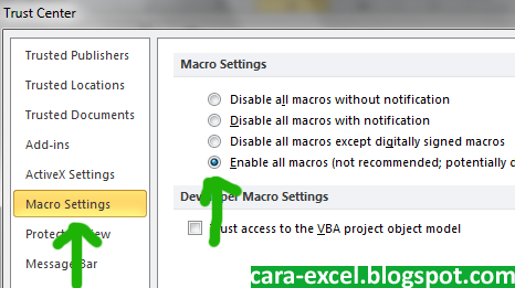 Cara Mematikan Security Macro Excel