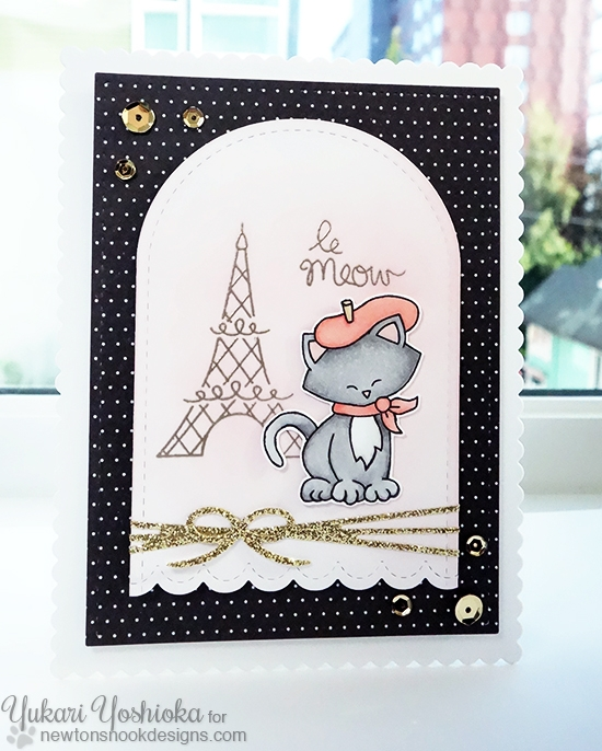 le Meow Card by Yukari Yoshioka | Newton Dreams of Paris stamp set by Newton's Nook Designs #newtonsnook #paris #cat