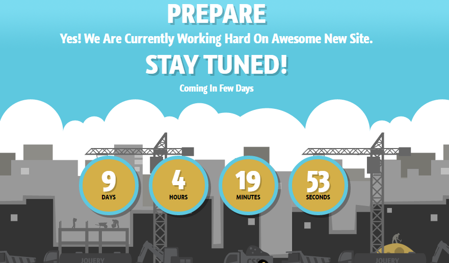 Download Prepare Responsive Under Construction Free Blogger Template