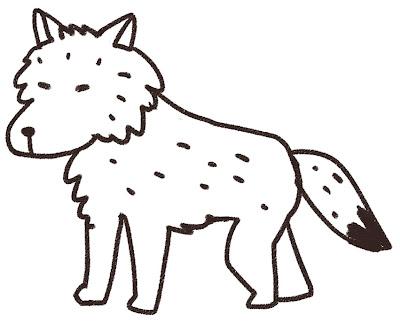 オオカミのイラスト(動物) 白黒線画