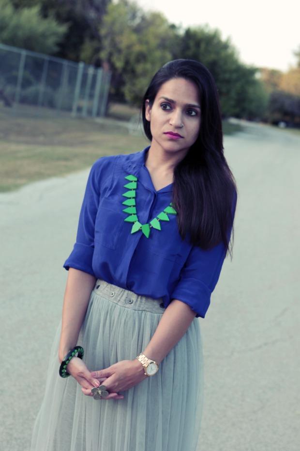 Indigo Blue, Net skirt, Oasap, Crazy & Co. Necklace, Rockdog Pumps, Date Night, Tanvii.com