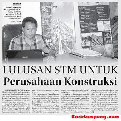 Lowongan Tenaga Lapangan CV. Jaya Agung Mandiri (Jaya Truss) Bandar Lampung