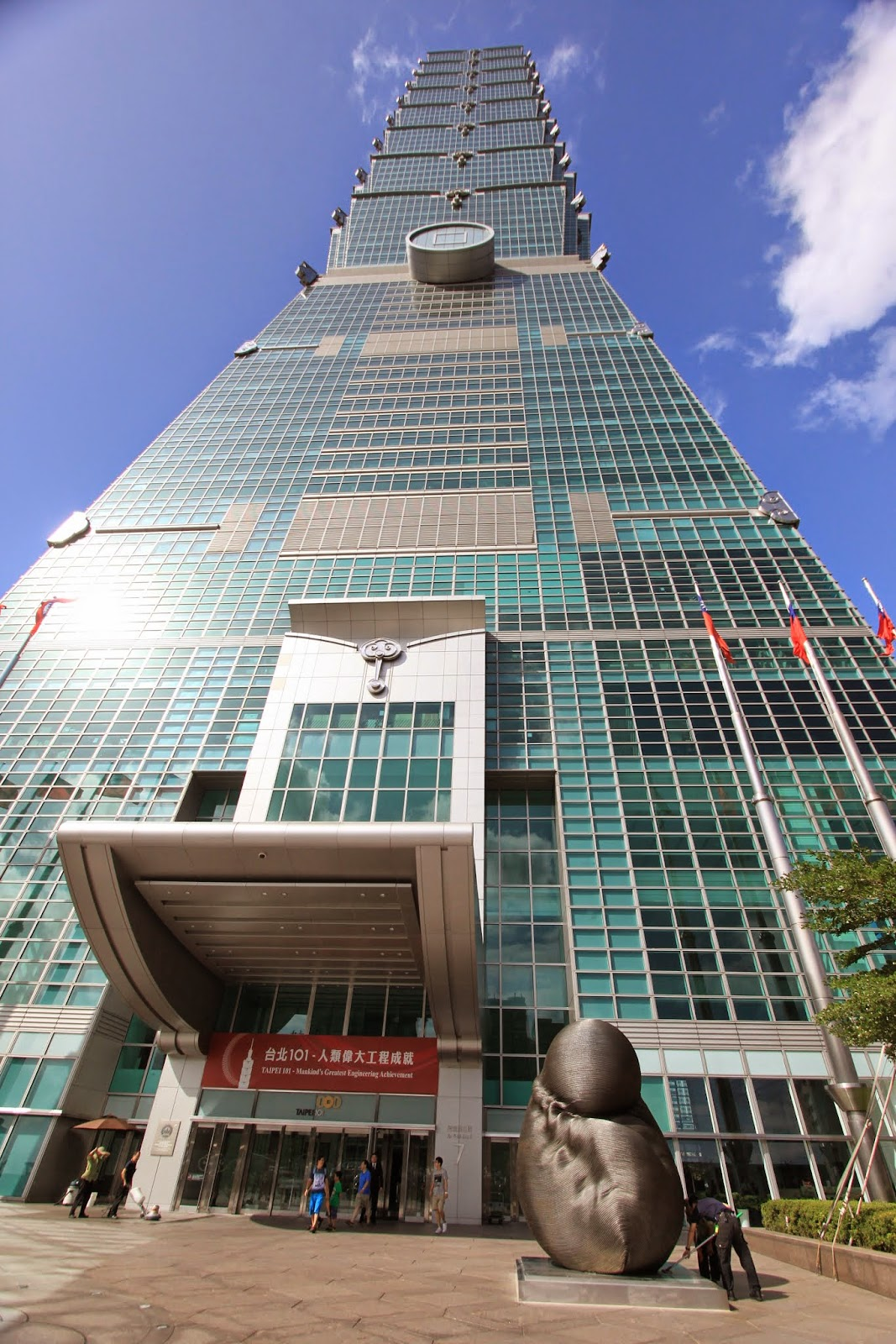 The main entrance of Taipei 101 in Taiwan