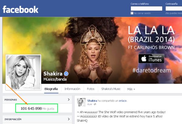 Shakira, la mas seguida en Facebook
