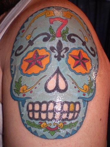 Blue dia de muertos skull tattoo