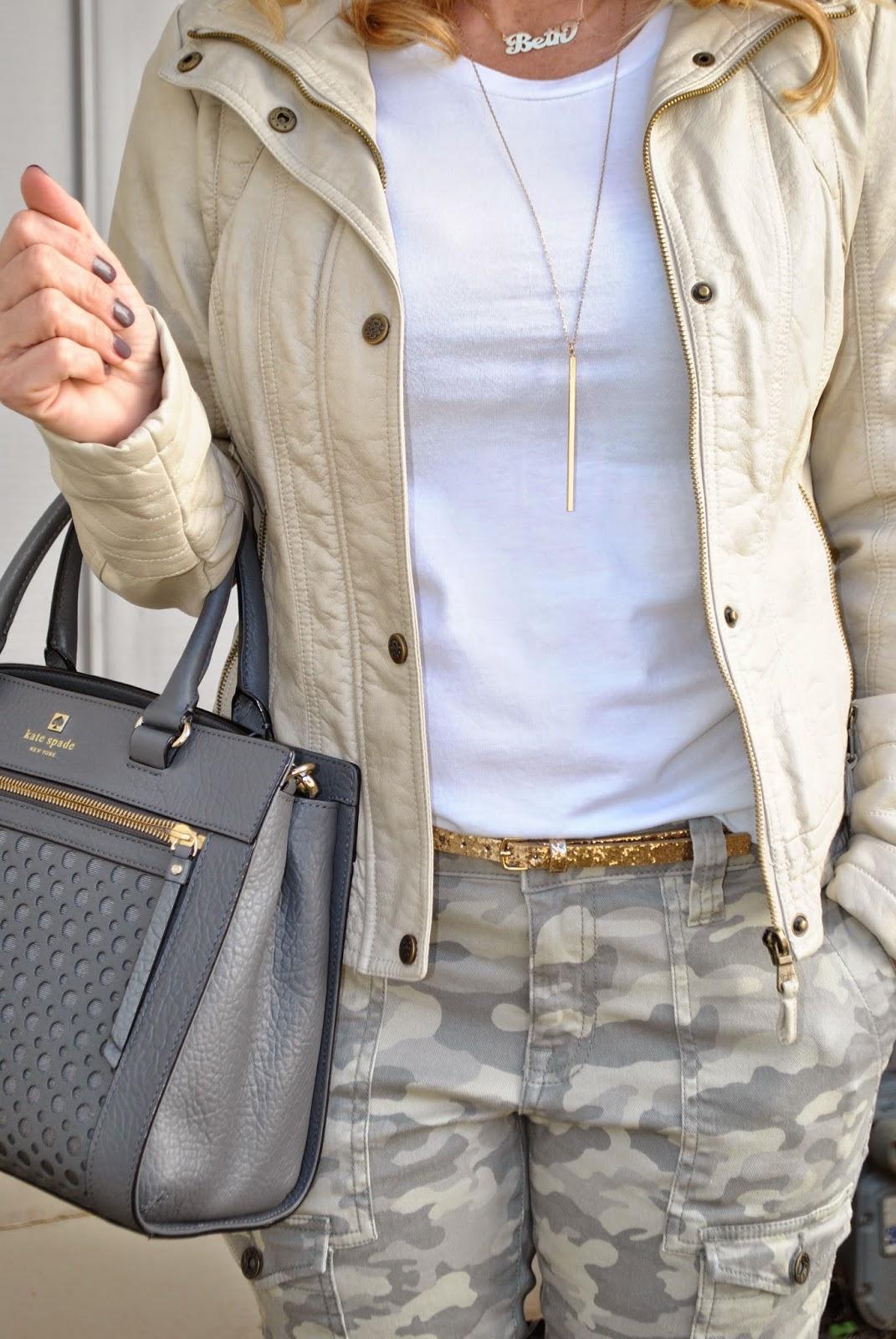J Crew Sunglasses, Gap Camo Pants, Neutral Prints, Kate Spade Perri Satchel Sunshine and Sequins Fashion Blog