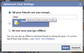 how to hide certain friends from chat on facebook