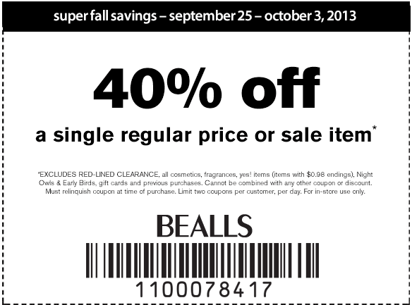 Oct 01,  · Save 40% off entire stock clearance, a total of up to 88% off original prices. 20% Off $ In Store At Bealls Florida 20% off $, valid on regular and sale priced merchandise at Bealls Florida Department Stores. 10 Exclusive Power Up Coupons – 20% Off ladies & men's apparel, footwear, home purchases, and handbags/5(27).