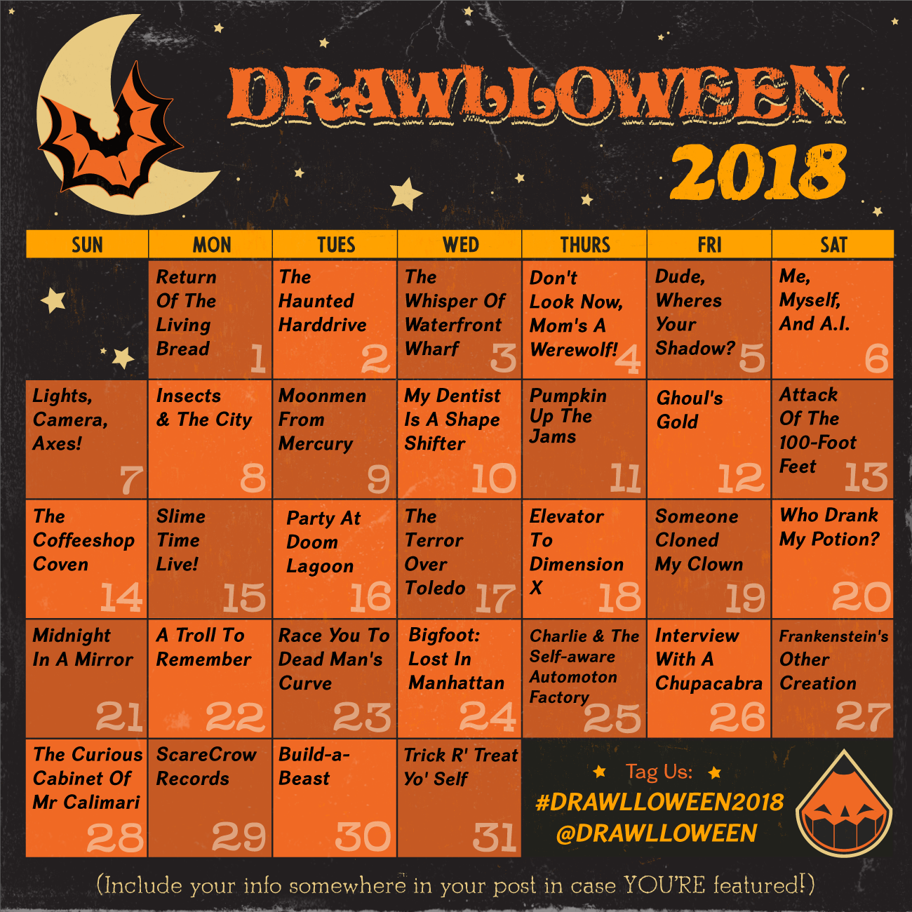 #Drawlloween2018 Calendar