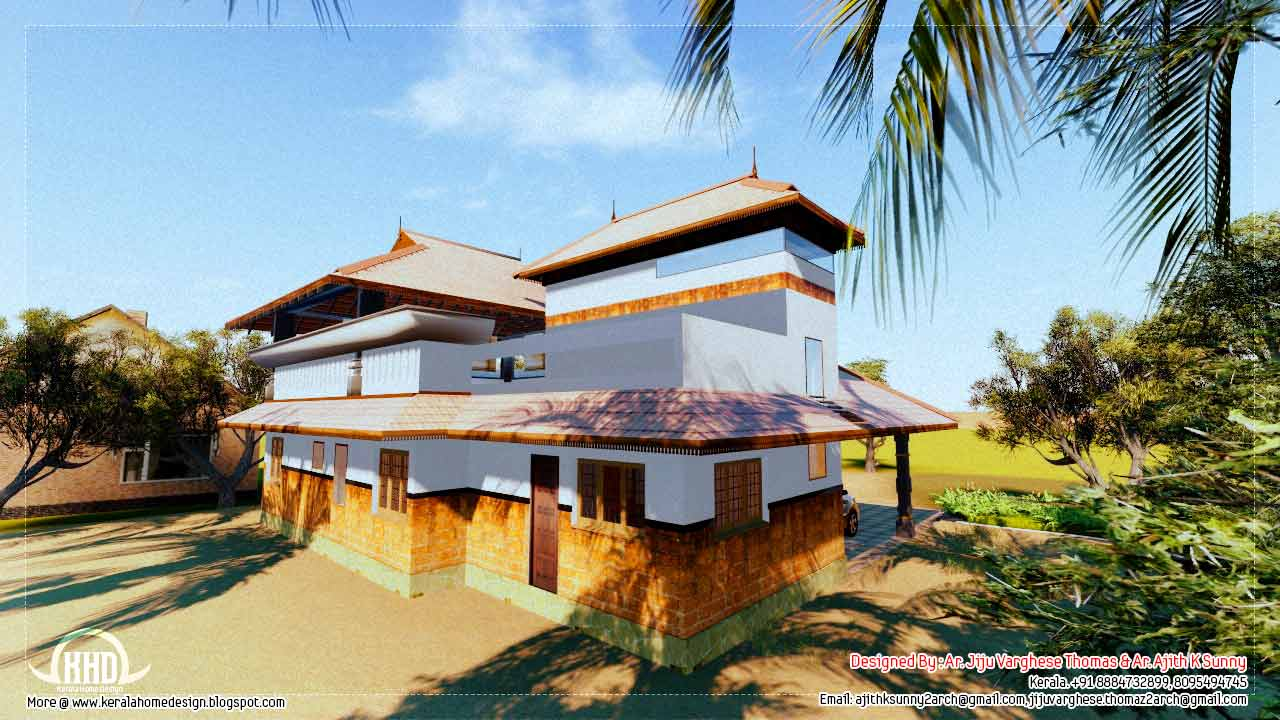 1500 traditional kerala home design kerala home for Kerala traditional home plans with photos