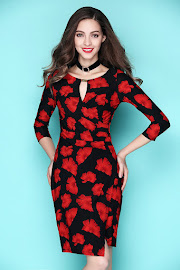 New 2017 Red Fan Petals Print OL Dress