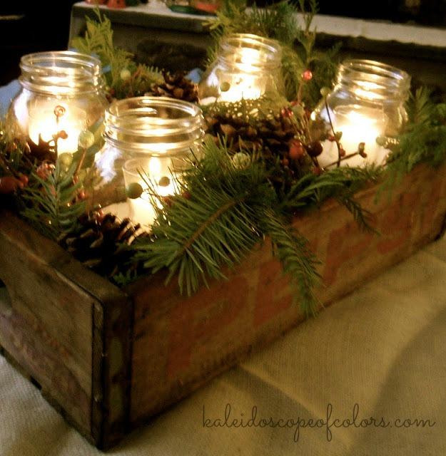 Kaleidoscope of colors winter rustic pepsi crate pine