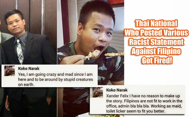 Thai National Who had Posted Various Racist Statement Against Filipino Got Fired!
