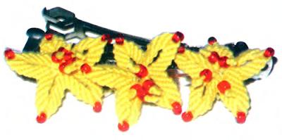 Цветочный комплект бижутерии в макраме: Плетение заколки