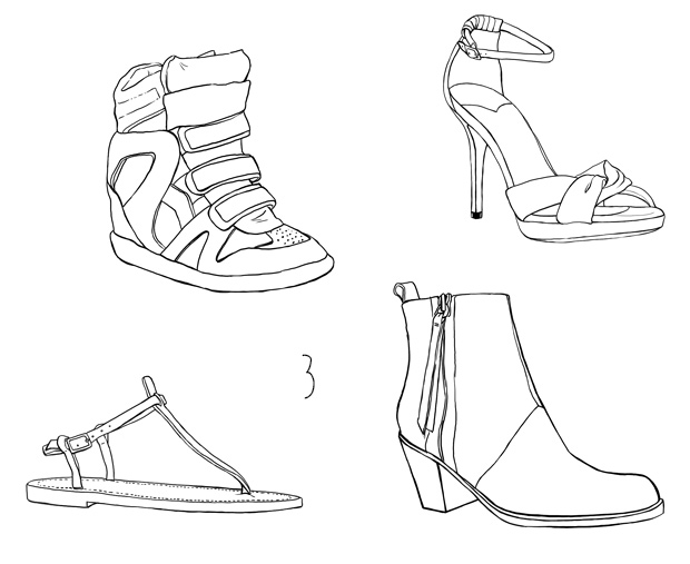 illustration dessin chaussures pistol acne sneakers isabel marant k.jacques jimmy choo