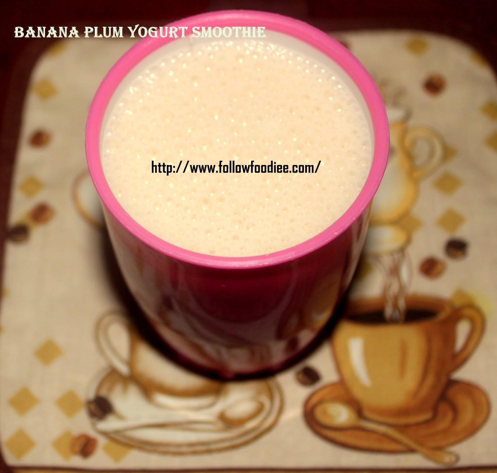 Plum Banana Yogurt Smoothie / Plum Banana Lassi