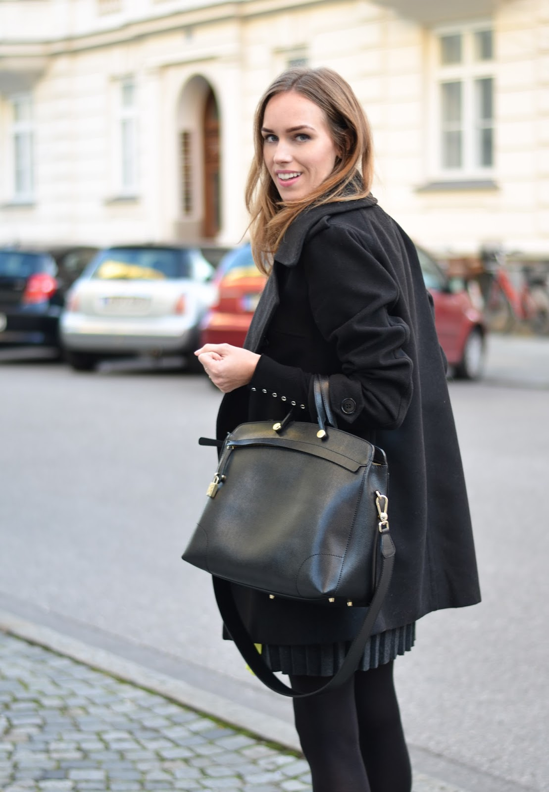 kristjaana mere furla black large leather bag black peacoat