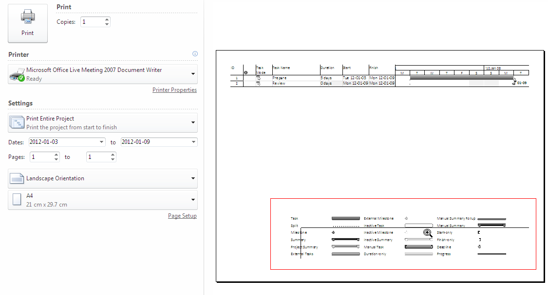 B Sai Prasad How To Hide Gantt Bar Legends While Printing