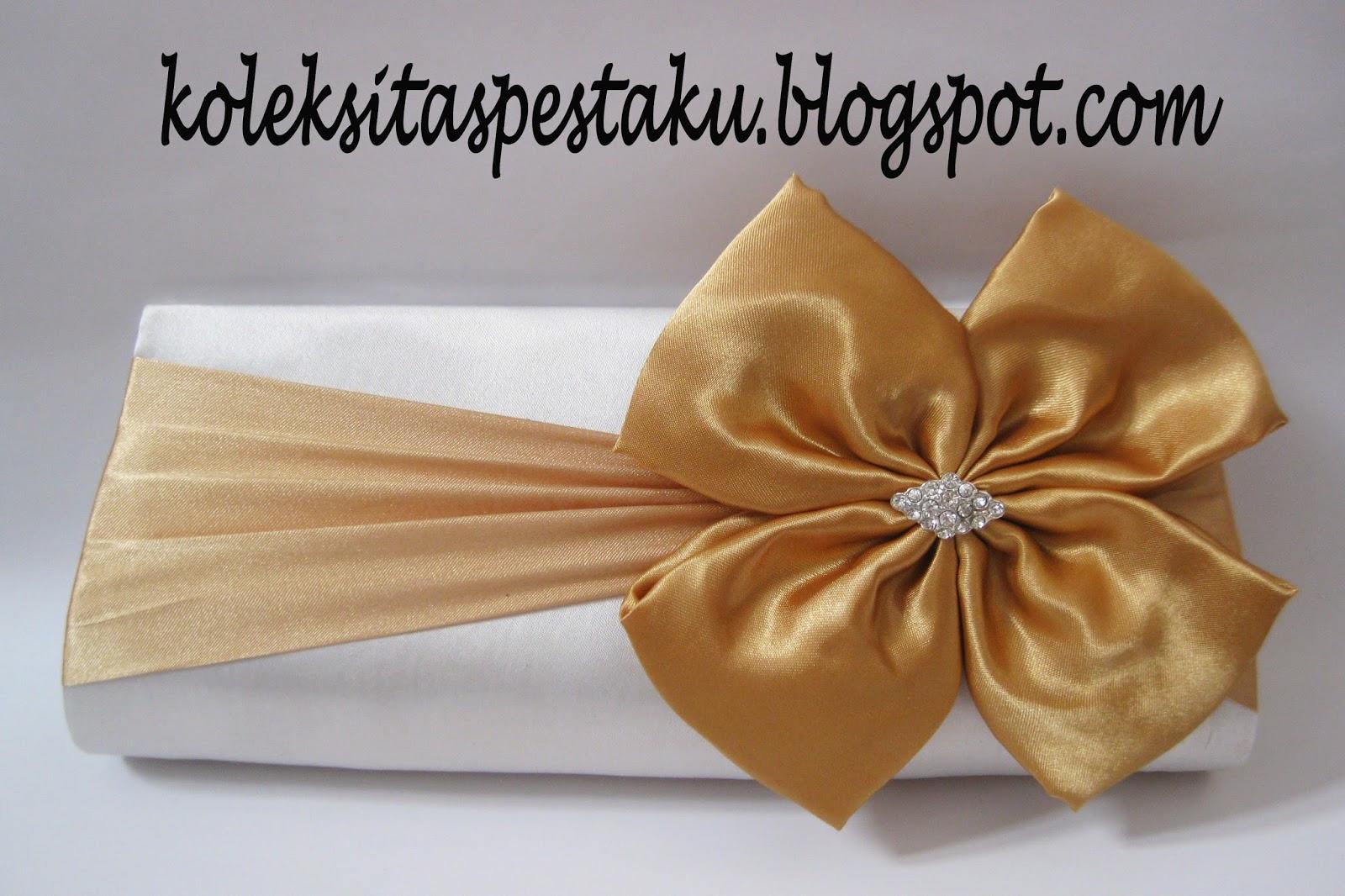 Tas Pesta Cantik Putih Gold Bahan satin Mewah
