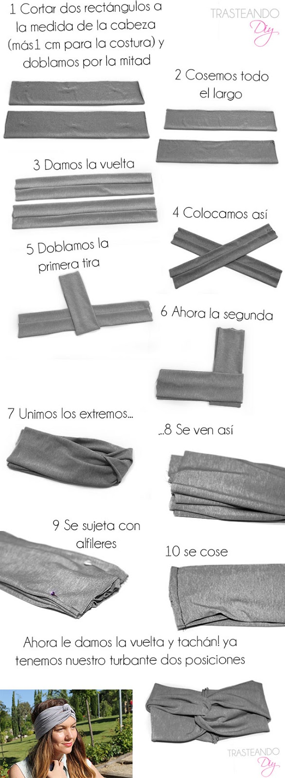 TURBANTE DIY CRAFT HECHO A MANO LICRA