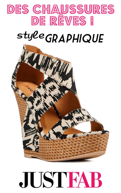 Chaussures à talons compensés motif graphique