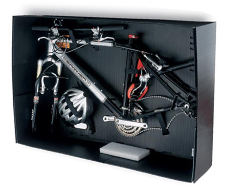 CrateWorks Pro XL-C Bike Box The CrateWorks Pro XL-C Bike Box folds flat when not in use, or from the center into a compact nodule. Super Strong when assembled with over 400 sq.inches of hook and loop fasteners at the corners.