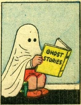 little Nancy as a ghost reading scary comics by Ernie Bushmiller