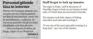 funny newspapers clip prisoners in sweden