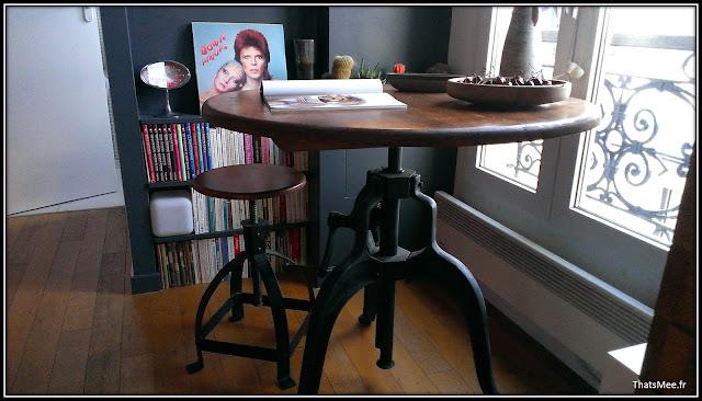 déco style loft 40m² meuble métier tiroir table Etsy 70s fauteuil club brocante, table tabouret AM-PM coulissant manivelle