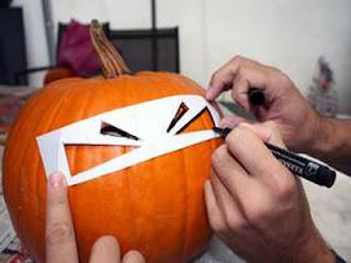обводка трафарета для тыкв на хэллоуин