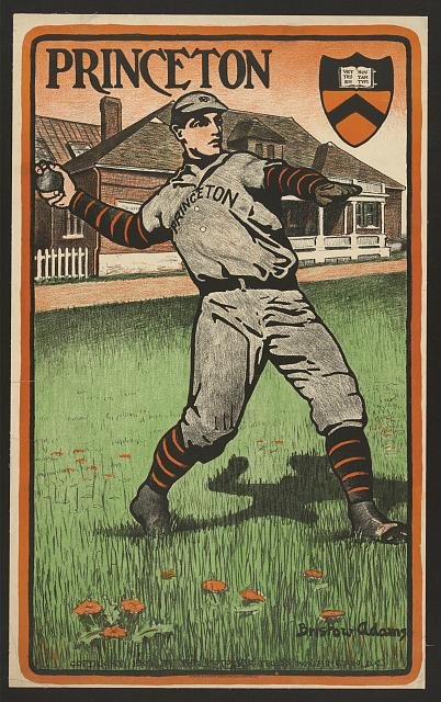 baseball, classic posters, free download, graphic design, retro prints, sports, vintage, vintage posters, Princeton University - Vintage Baseball Sports Poster