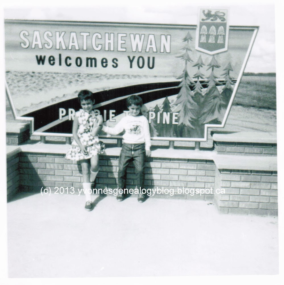 Yvonne and Marianne Belair at the Saskatchewan border 1966