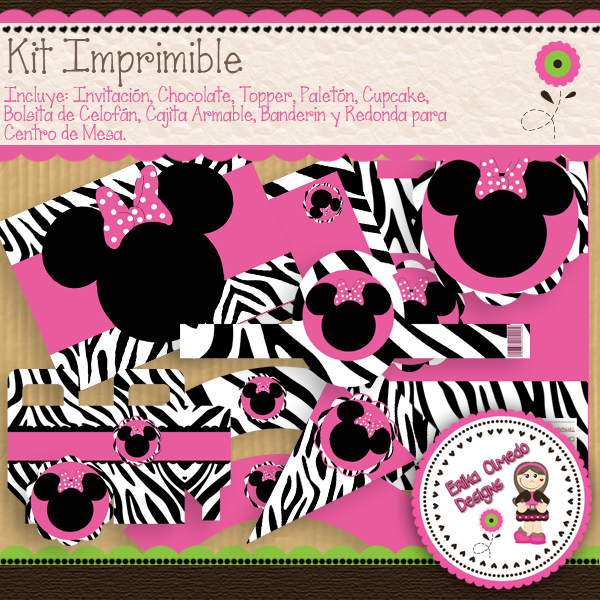 Kit Imprimible Minnie Mouse Zebra