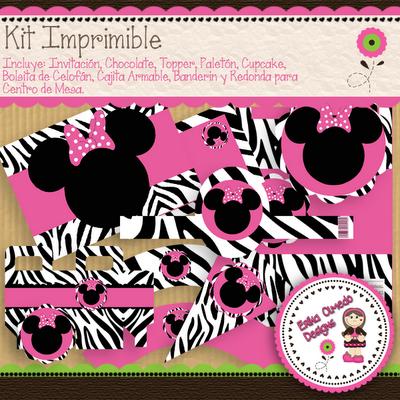 Kit Imprimible Minnie Mouse Zebra ★