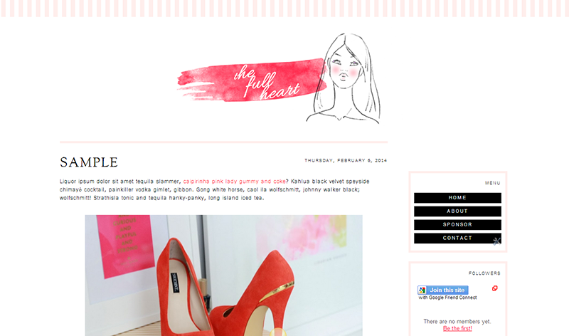 Blogger Design Template Sample: The Full Heart ($35)