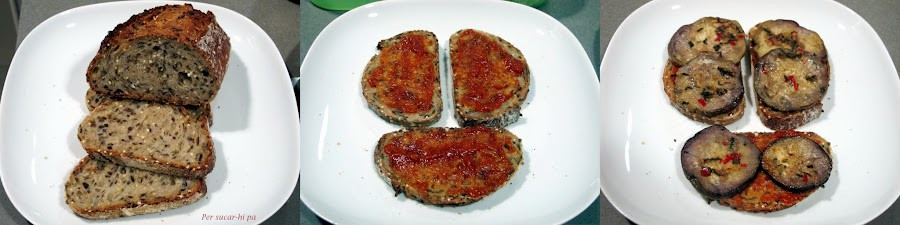 Para cenas informales y de picoteo: tostas de berenjena, atún y mozzarella