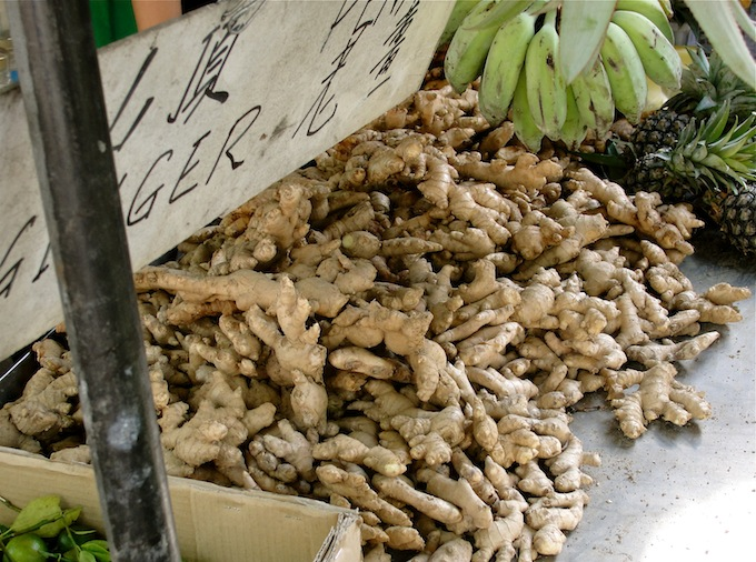 fresh mature ginger for sale in a penang morning market
