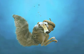Scrat and his acorn underwater in Ice Age: The Meltdown animatedfilmreviews.filminspector.com