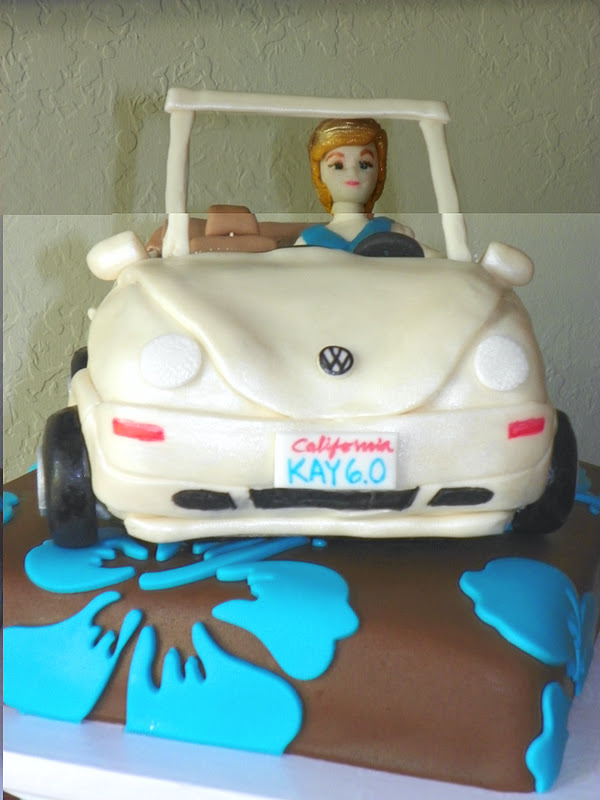 plumeria cake studio volkswagon convertible coupe  birthday cake