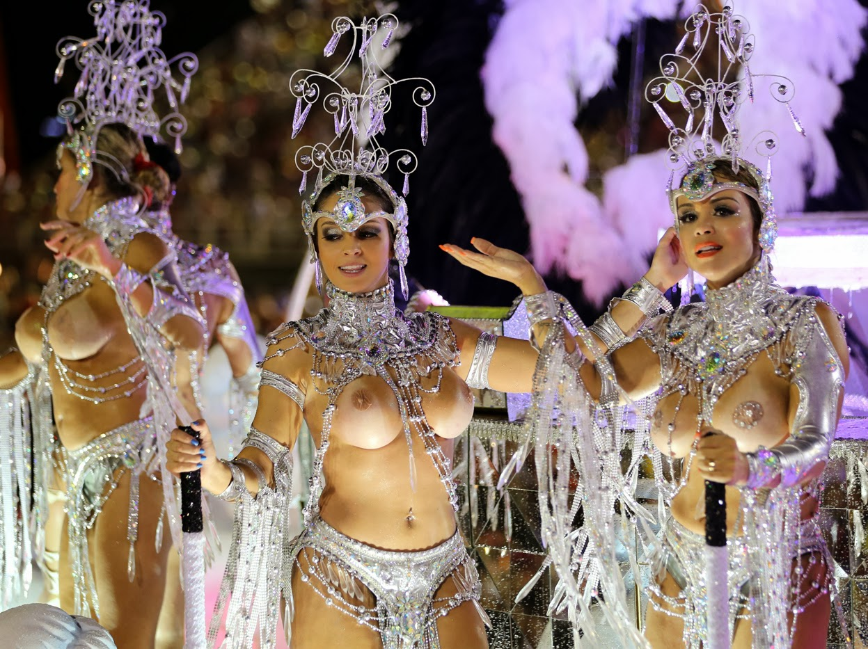 Performers from the Grande Rio samba school, during the first night of Carnival in Rio, on March 2,