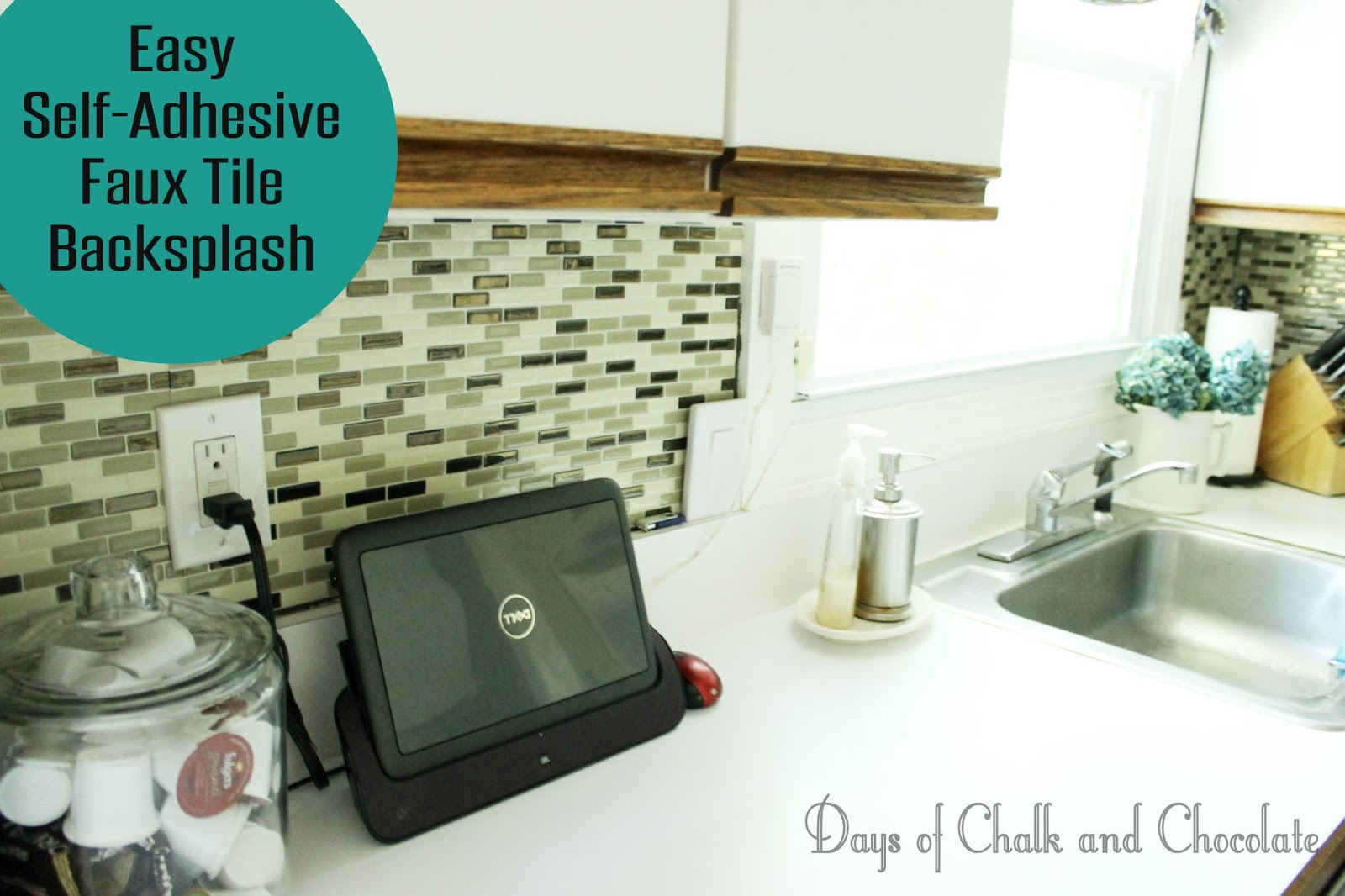 easy diy self-adhesive faux tile backsplash | days of chalk and