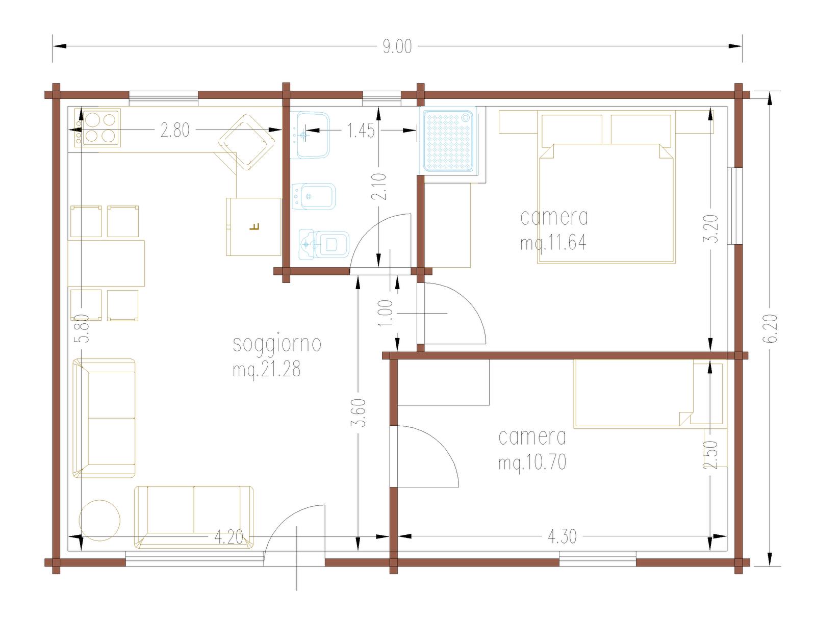Progetti di case in legno casa 55 80 mq - Planimetria casa 120 mq ...
